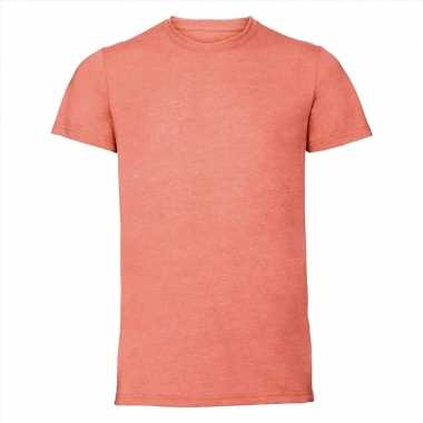 Basic ronde hals t-shirt vintage washed koraal oranje voor heren