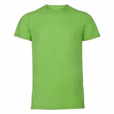 Basic ronde hals t-shirt vintage washed lime voor heren