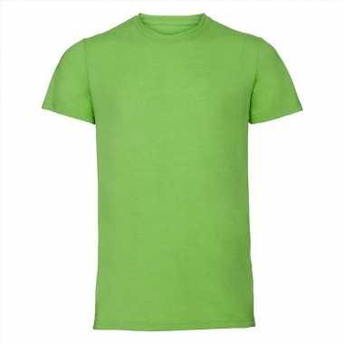Basic ronde hals t-shirt vintage washed lime voor heren