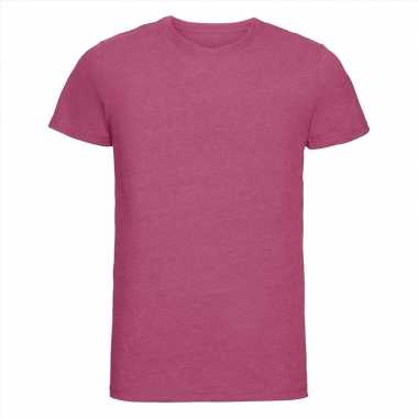 Basic ronde hals t-shirt vintage washed roze voor heren