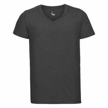 Basic v-hals t-shirt vintage washed antraciet voor heren
