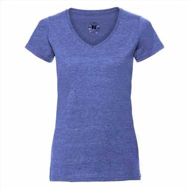 Basic v-hals t-shirt vintage washed denim blauw voor dames