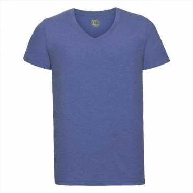 Basic v-hals t-shirt vintage washed denim blauw voor heren