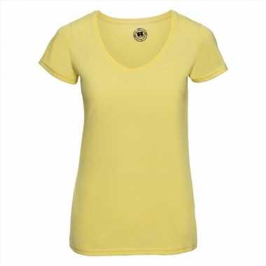 Basic v-hals t-shirt vintage washed geel voor dames