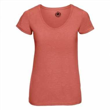 Basic v-hals t-shirt vintage washed koraal oranje voor dames