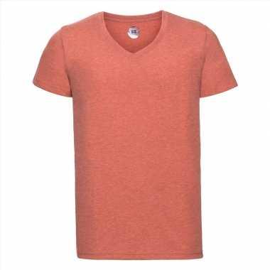 Basic v-hals t-shirt vintage washed koraal oranje voor heren