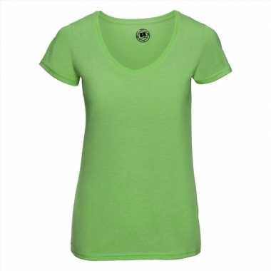 Basic v-hals t-shirt vintage washed lime voor dames