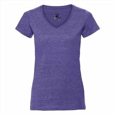 Basic v-hals t-shirt vintage washed paars voor dames