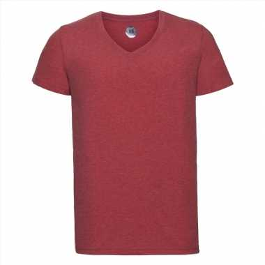 Basic v hals t-shirt vintage washed rood voor heren