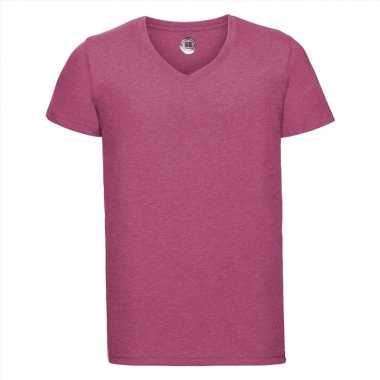 Basic v-hals t-shirt vintage washed roze voor heren