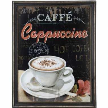Houten vintage schilderij koffie cappuccino