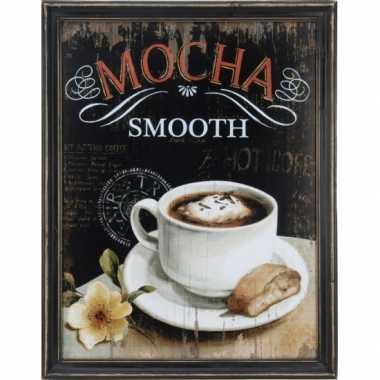 Houten vintage schilderij koffie mocha
