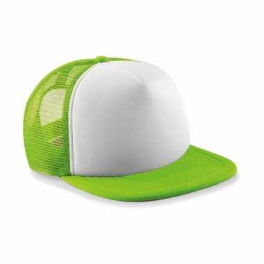 Lime met witte vintage kinder baseball cap