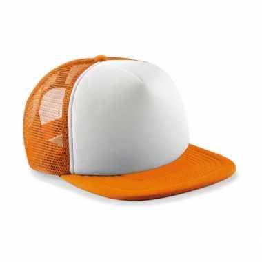 Oranje met witte vintage kinder baseball cap