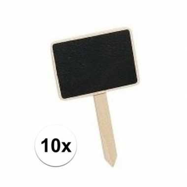 Vintage 10 mini krijtbordjes op stokje 7 cm