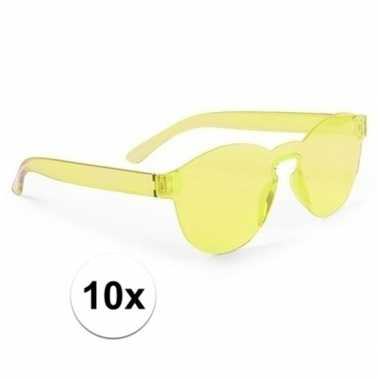 Vintage 10x gele verkleed zonnebril voor volwassenen