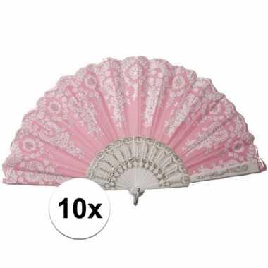 Vintage 10x stuks roze spaanse waaiers met wit kant