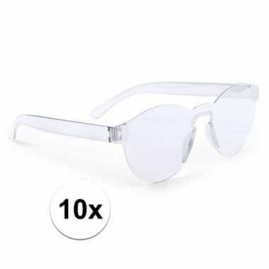 Vintage 10x transparante verkleed zonnebrillen voor volwassenen