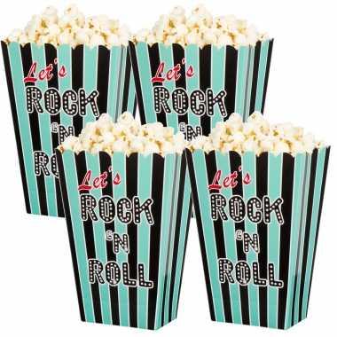 Vintage 12x rock n roll popcornbakjes/snoepbakjes 13 cm