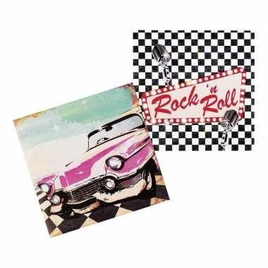 Vintage 12x rock n roll servetten 33cm