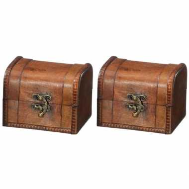 Vintage 2x houten opbergkistjes donkerbruin 11 cm