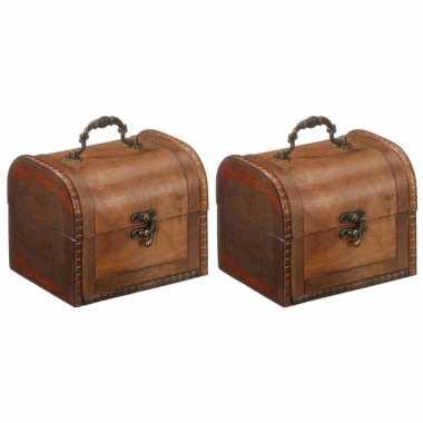Vintage 2x houten opbergkistjes donkerbruin 15 cm