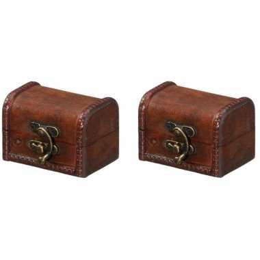 Vintage 2x houten opbergkistjes donkerbruin 8 cm