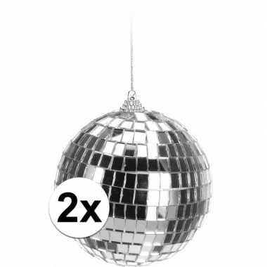 Vintage 2x kerstboom decoratie discoballen zilver 10 cm
