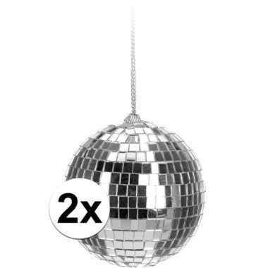 Vintage 2x kerstboom decoratie discoballen zilver 6 cm