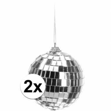 Vintage 2x kerstboom decoratie discoballen zilver 8 cm for Decoratie zilver