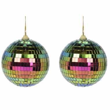 Vintage 2x regenboog disco kerstballen discoballen/discobollen foam/glas 10 cm