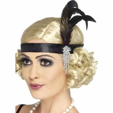 Vintage 2x zwarte flapper hoofdbanden verkleedaccessoire voor dames