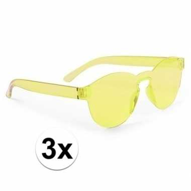 Vintage 3x gele verkleed zonnebrillen voor volwassenen