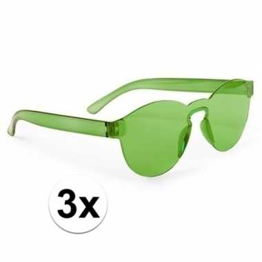 Vintage 3x groene verkleed zonnebrillen voor volwassenen