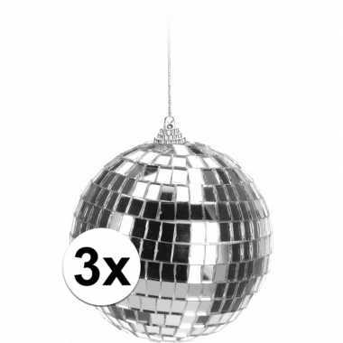 Vintage 3x kerstboom decoratie discoballen zilver 10 cm