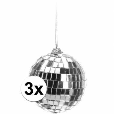 Vintage 3x kerstboom decoratie discoballen zilver 8 cm