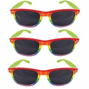 Vintage 3x regenboog feest brillen voor volwassenen