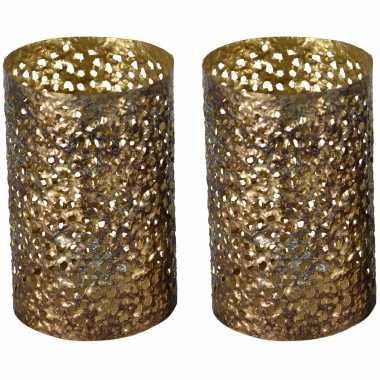 Vintage 3x stuks metalen waxinelichthouders/theelichthouders goud grof motief 14 x 21 cm
