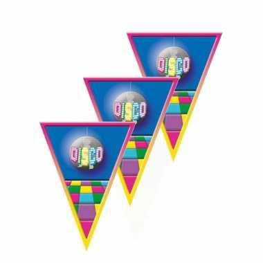 Vintage 3x stuks vlaggenlijn disco versiering thema 5 meter