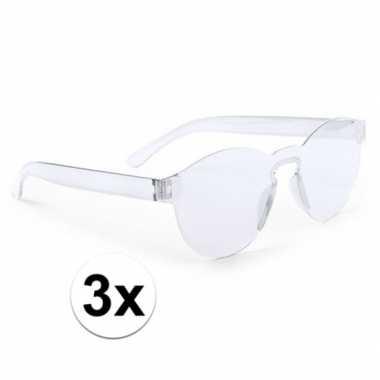 Vintage 3x transparante verkleed zonnebrillen voor volwassenen