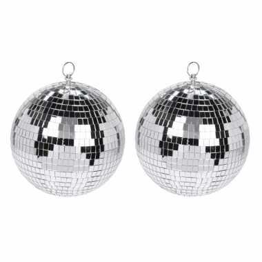 Vintage 4x grote zilveren disco kerstballen discoballen/discobollen glas/foam 12 cm