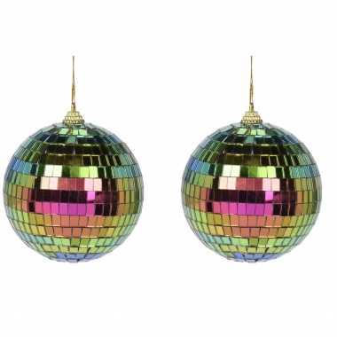 Vintage 4x regenboog disco kerstballen discoballen/discobollen foam/glas 8 cm