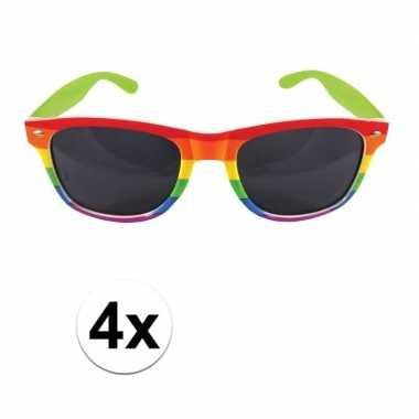 Vintage 4x regenboog feest brillen voor volwassenen