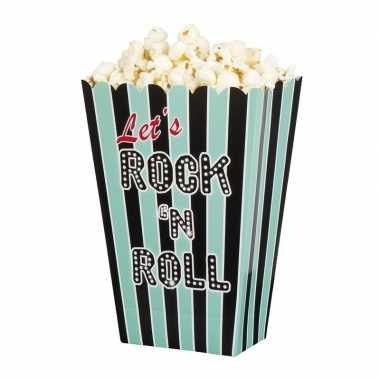 Vintage 4x rock n roll popcornbakjes 13 cm