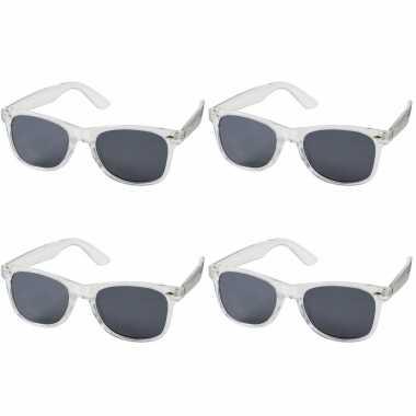 Vintage 4x stuks retro verkleed zonnebril transparant