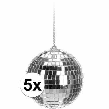 Vintage 5x kerstboom decoratie discoballen zilver 6 cm