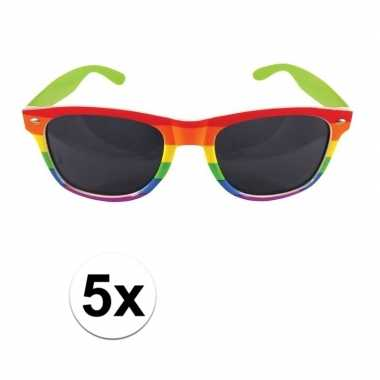 Vintage 5x regenboog feest brillen voor volwassenen