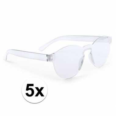 Vintage 5x transparante verkleed zonnebrillen voor volwassenen