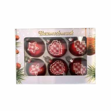 Vintage 6 rode kerstballen met stoffen opdruk 5 cm