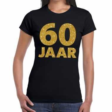 Vintage 60 jaar goud glitter t-shirt zwart dames